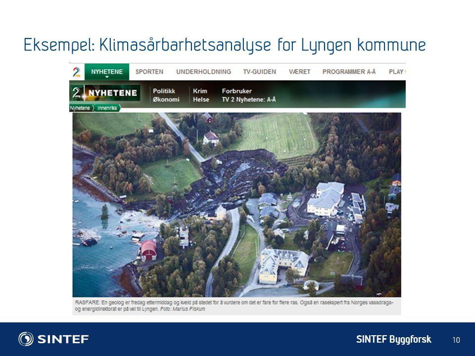 SINTEF Byggforsk 10 Eksempel: Klimasårbarhetsanalyse for Lyngen kommune