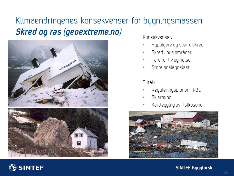 SINTEF Byggforsk 20 Konsekvenser: Hyppigere og større skred Skred i nye områder Fare for liv og helse Store ødeleggelser Tiltak: Reguleringsplanar – P