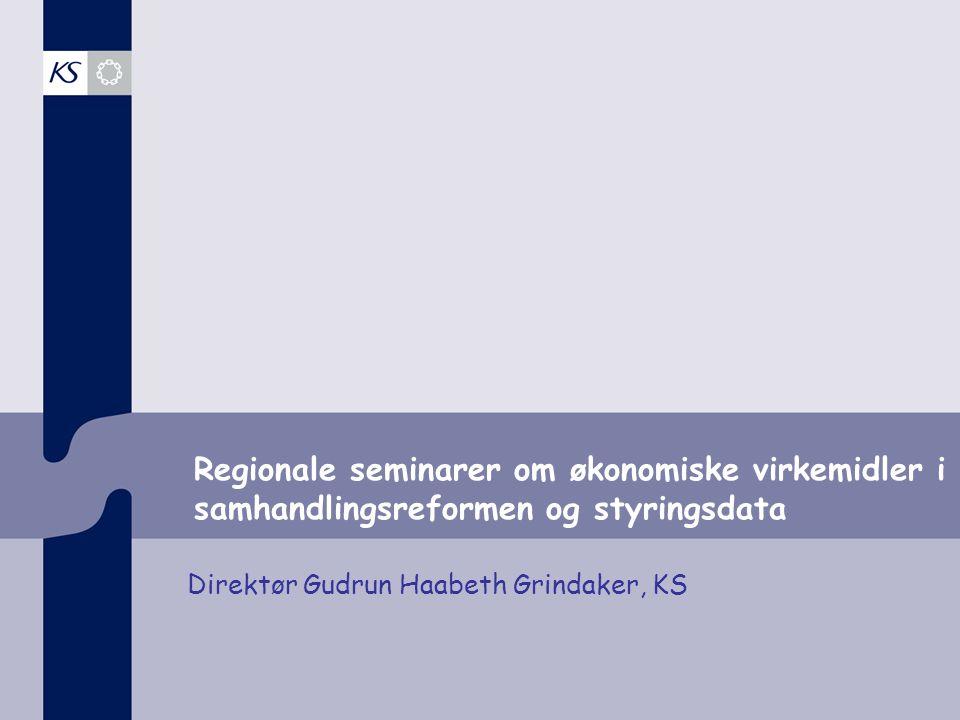 Regionale seminarer om økonomiske virkemidler i samhandlingsreformen og styringsdata Direktør Gudrun Haabeth Grindaker, KS