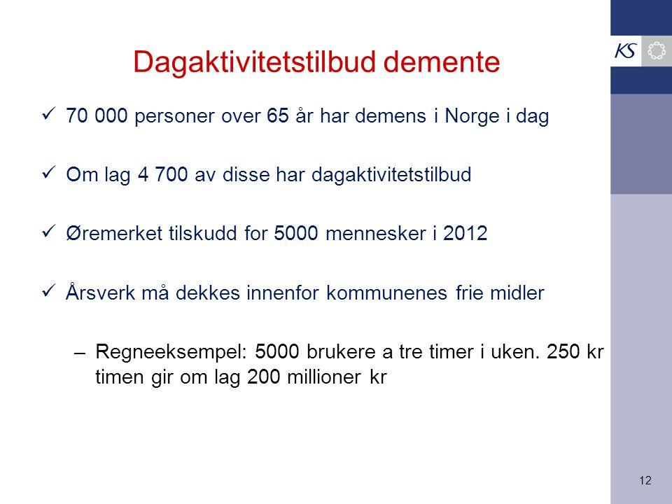 12 Dagaktivitetstilbud demente 70 000 personer over 65 år har demens i Norge i dag Om lag 4 700 av disse har dagaktivitetstilbud Øremerket tilskudd fo