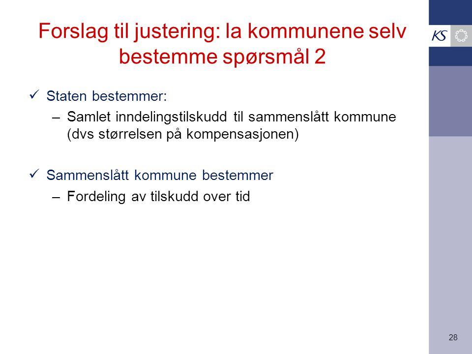 28 Forslag til justering: la kommunene selv bestemme spørsmål 2 Staten bestemmer: –Samlet inndelingstilskudd til sammenslått kommune (dvs størrelsen p