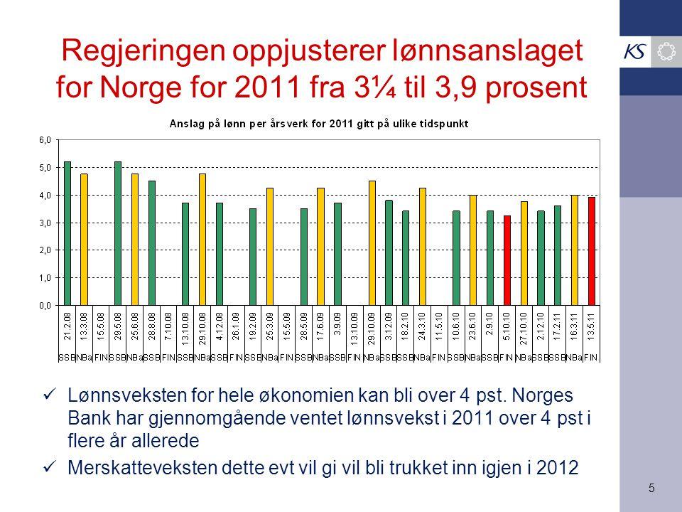 5 Regjeringen oppjusterer lønnsanslaget for Norge for 2011 fra 3¼ til 3,9 prosent Lønnsveksten for hele økonomien kan bli over 4 pst. Norges Bank har