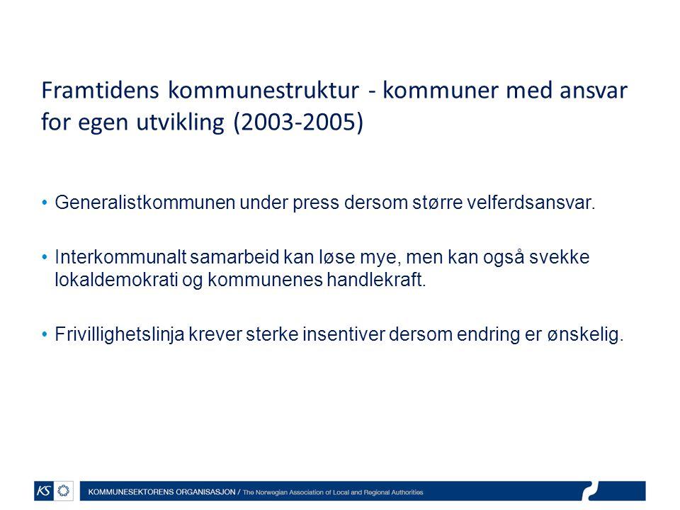Framtidens kommunestruktur - kommuner med ansvar for egen utvikling (2003-2005) Generalistkommunen under press dersom større velferdsansvar. Interkomm