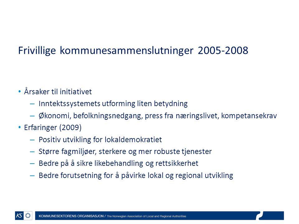 Frivillige kommunesammenslutninger 2005-2008 Årsaker til initiativet – Inntektssystemets utforming liten betydning – Økonomi, befolkningsnedgang, pres