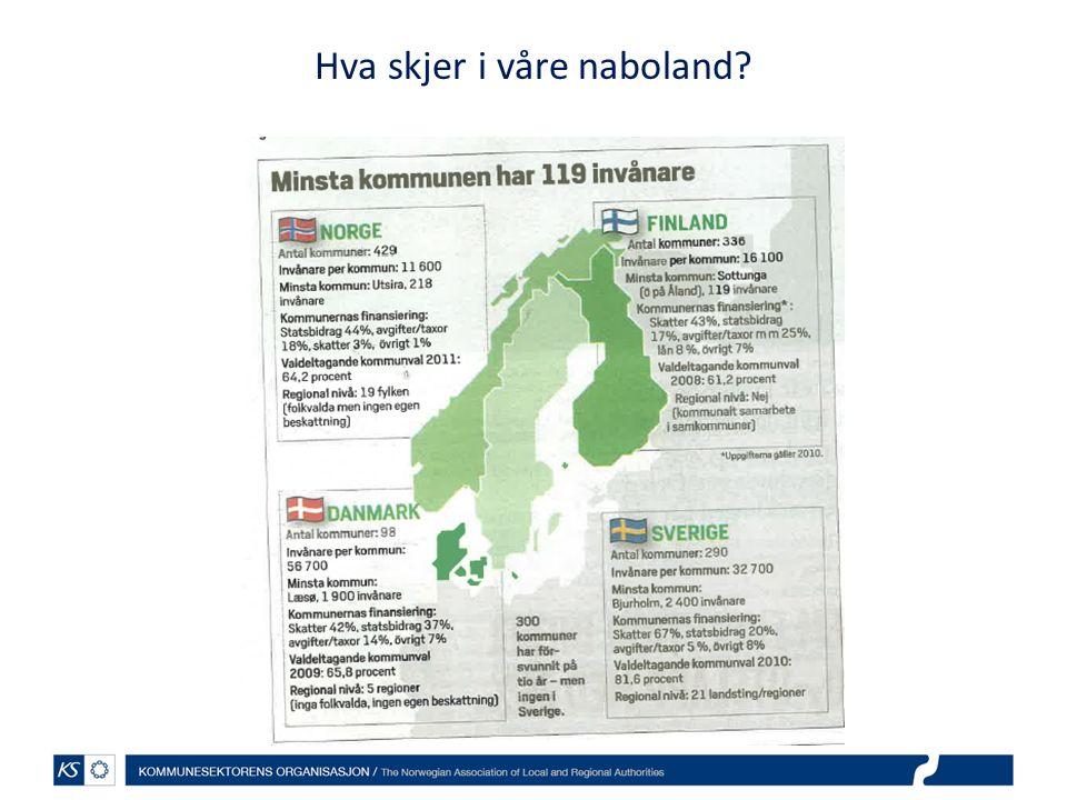 Finland: Tre hovedkriterier for kommunene Tjeneste- og befolkningsgrunnlaget må være stort nok for å selvstendig kunne håndtere oppgavene Kriterier knyttet til arbeidsplasser, pendling og behov for samordnet arealbruk, boligutvikling og transport Økonomien god nok for å sikre kommunens bærekraft