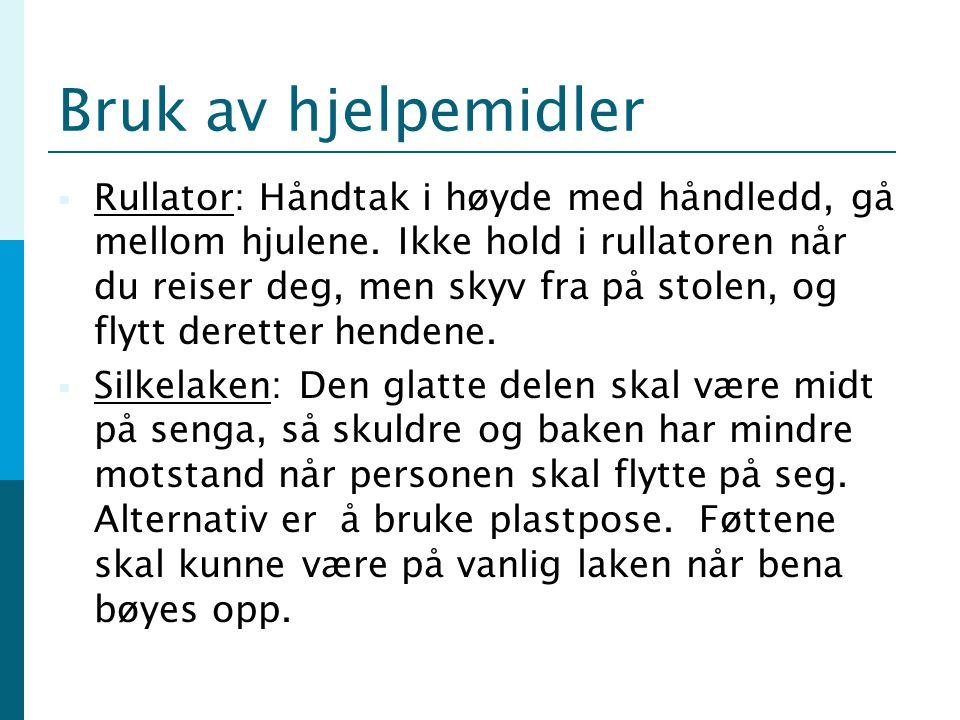 Kilder og ressurser  Opplæringspakken rehabilitering, samarbeidsprosjekt mellom Lindesnes, Søgne, Marnardal, Audnedal, Sogndalen og Hovedundervisningssykehjemmet  Enklereliv.no  Etac.no