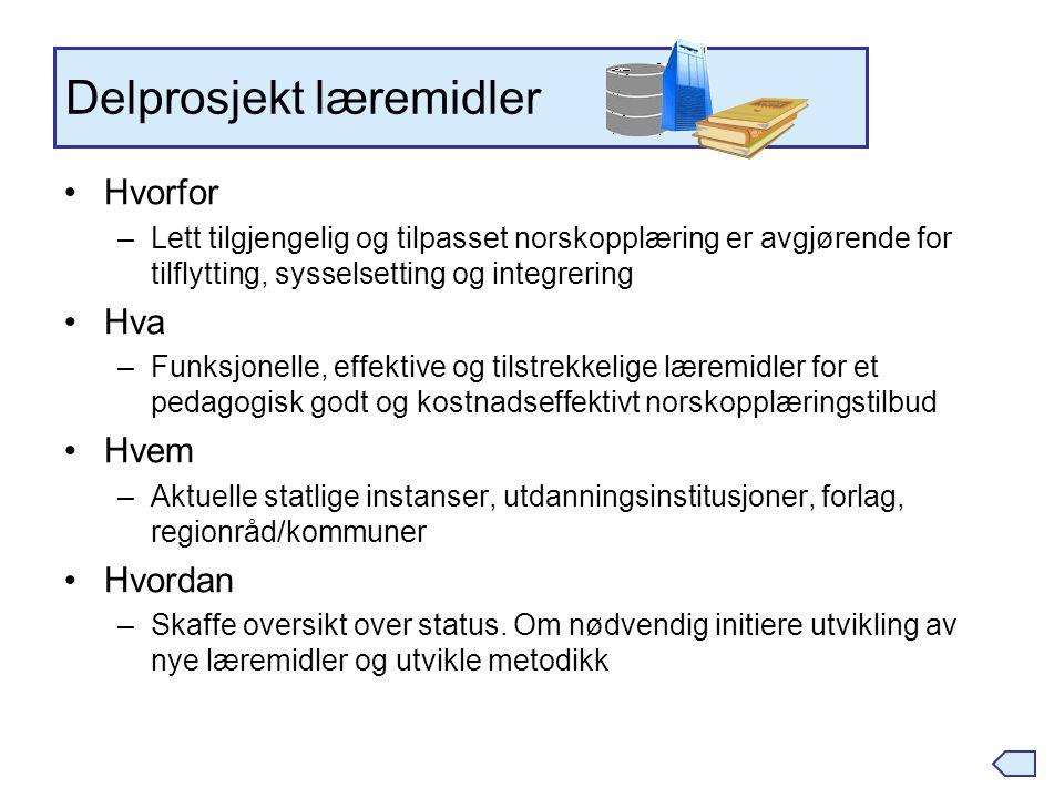 Delprosjekt læremidler Hvorfor –Lett tilgjengelig og tilpasset norskopplæring er avgjørende for tilflytting, sysselsetting og integrering Hva –Funksjo