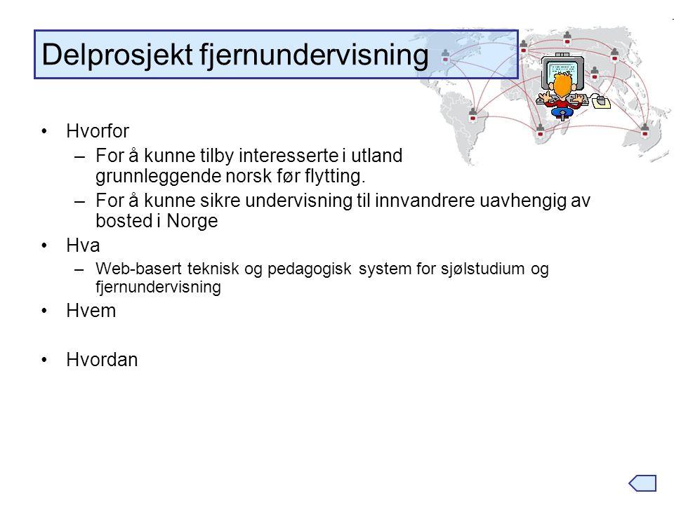 Hvorfor –For å kunne tilby interesserte i utland en mulighet til å lære grunnleggende norsk før flytting. –For å kunne sikre undervisning til innvandr