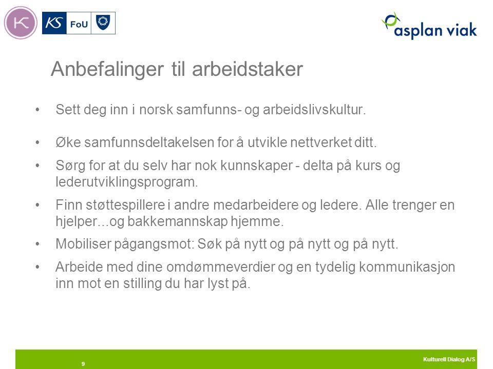 Kulturell Dialog A/S 9 Anbefalinger til arbeidstaker Sett deg inn i norsk samfunns- og arbeidslivskultur. Øke samfunnsdeltakelsen for å utvikle nettve