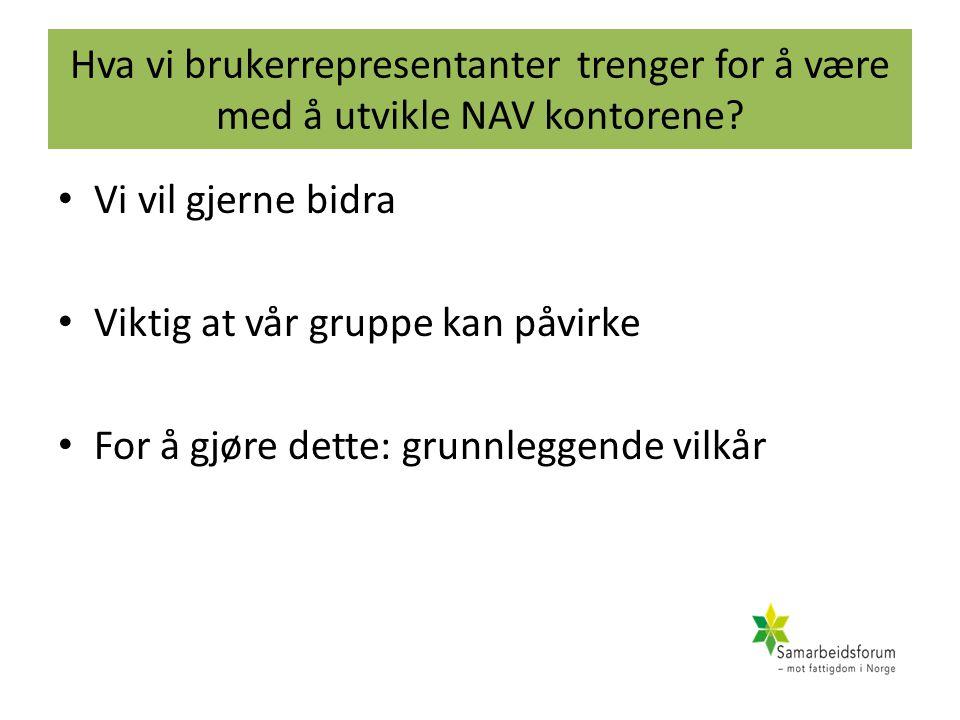Hva vi brukerrepresentanter trenger for å være med å utvikle NAV kontorene? Vi vil gjerne bidra Viktig at vår gruppe kan påvirke For å gjøre dette: gr