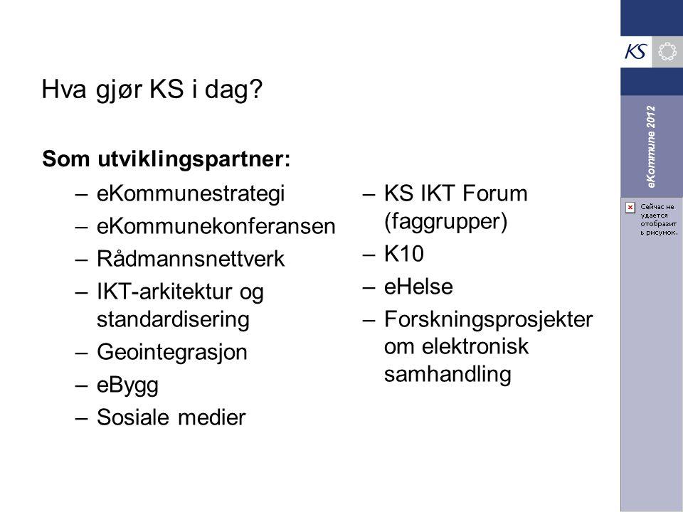 eKommune 2012 –eKommunestrategi –eKommunekonferansen –Rådmannsnettverk –IKT-arkitektur og standardisering –Geointegrasjon –eBygg –Sosiale medier –KS I