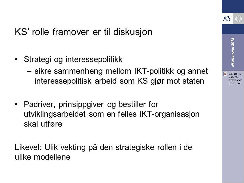eKommune 2012 KS' rolle framover er til diskusjon Strategi og interessepolitikk –sikre sammenheng mellom IKT-politikk og annet interessepolitisk arbei