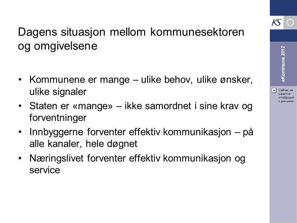 eKommune 2012 Dagens situasjon mellom kommunesektoren og omgivelsene Kommunene er mange – ulike behov, ulike ønsker, ulike signaler Staten er «mange»