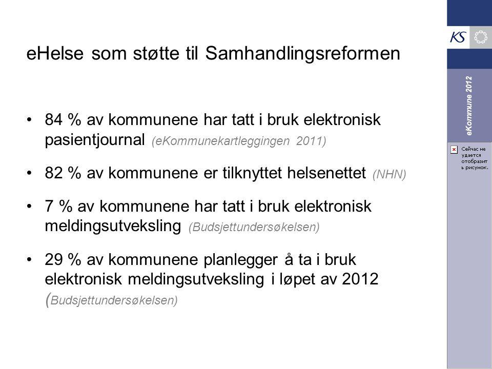 eKommune 2012 eHelse som støtte til Samhandlingsreformen 84 % av kommunene har tatt i bruk elektronisk pasientjournal (eKommunekartleggingen 2011) 82