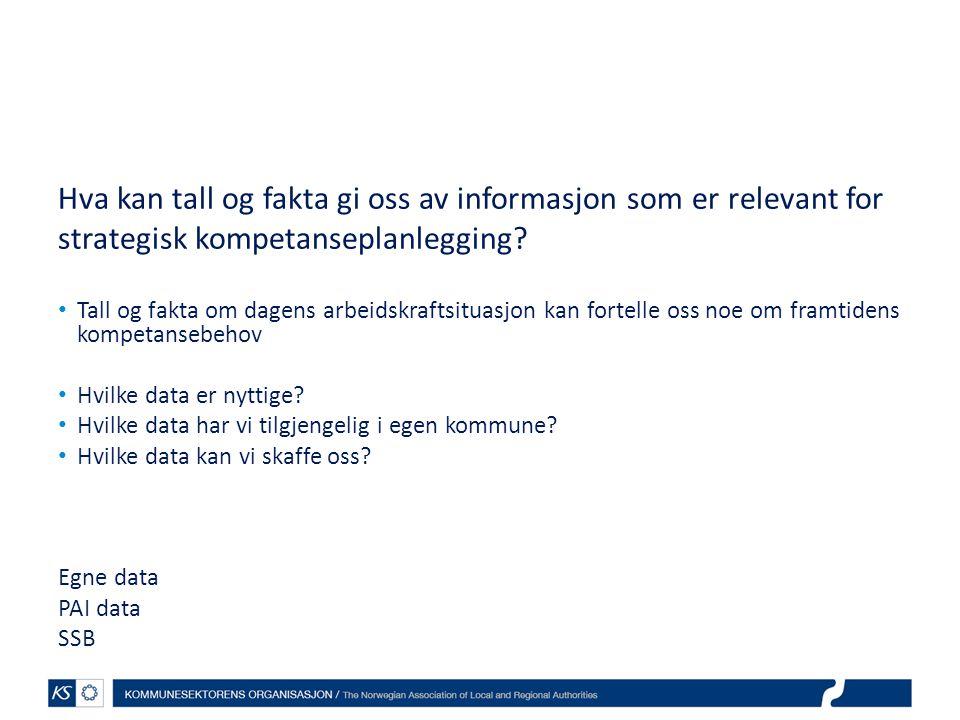 Hva kan tall og fakta gi oss av informasjon som er relevant for strategisk kompetanseplanlegging.