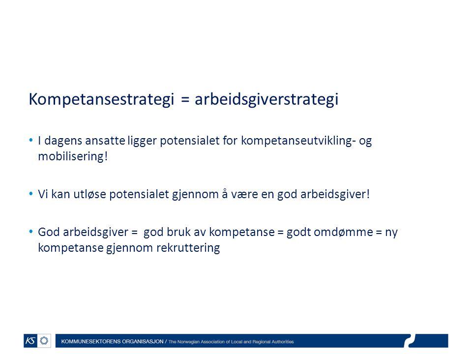 Kompetansestrategi = arbeidsgiverstrategi I dagens ansatte ligger potensialet for kompetanseutvikling- og mobilisering.