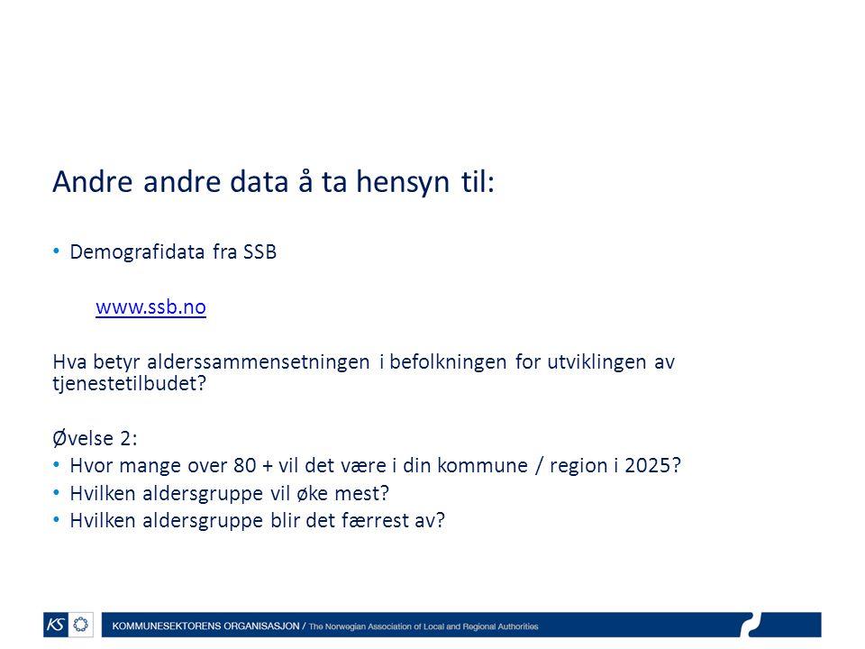 Andre andre data å ta hensyn til: Demografidata fra SSB www.ssb.no Hva betyr alderssammensetningen i befolkningen for utviklingen av tjenestetilbudet.