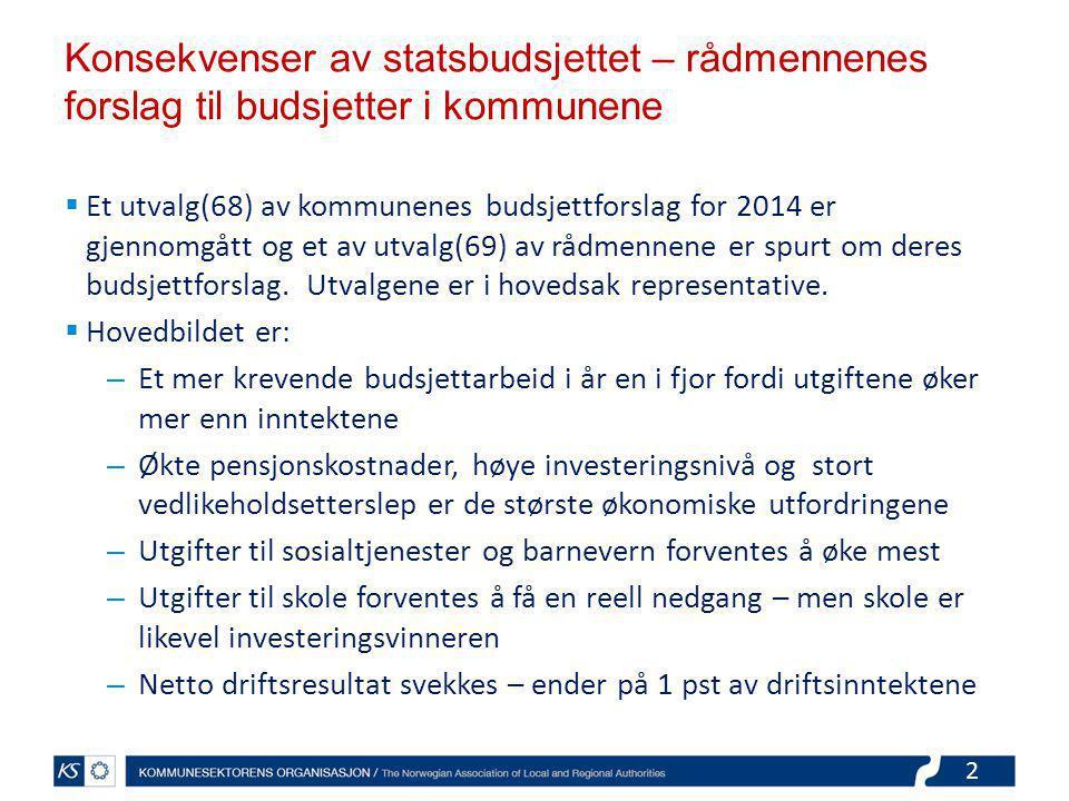 2 Konsekvenser av statsbudsjettet – rådmennenes forslag til budsjetter i kommunene  Et utvalg(68) av kommunenes budsjettforslag for 2014 er gjennomgått og et av utvalg(69) av rådmennene er spurt om deres budsjettforslag.