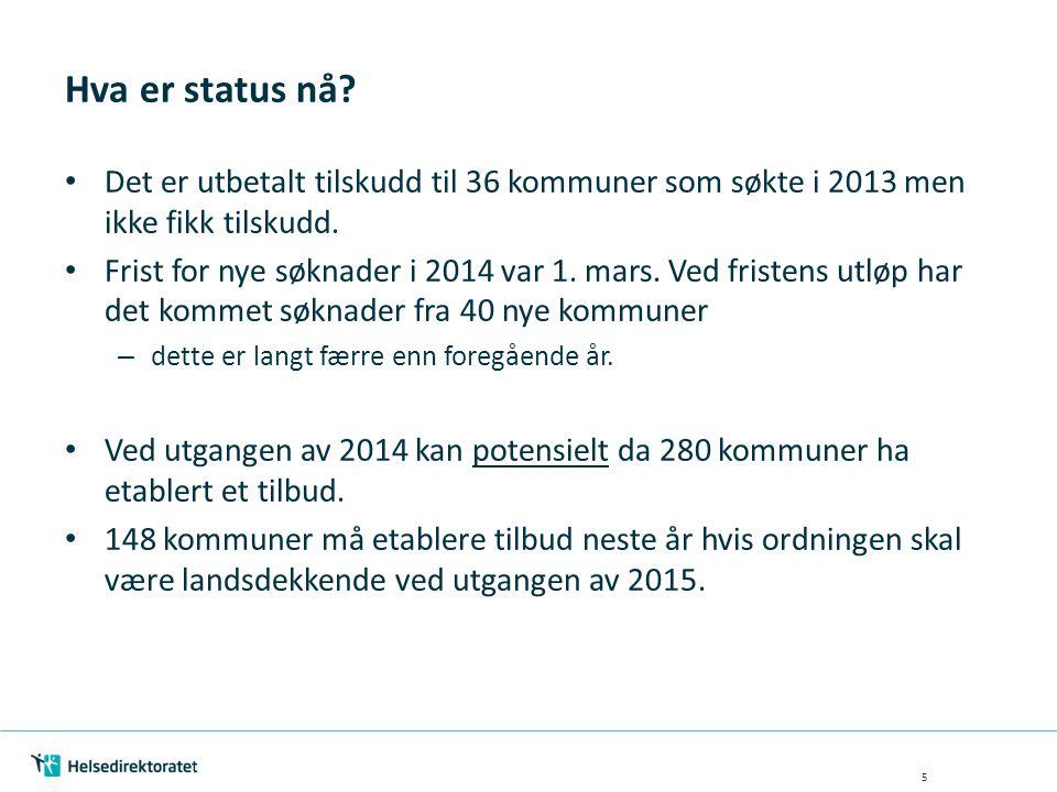 Hva er status nå? Det er utbetalt tilskudd til 36 kommuner som søkte i 2013 men ikke fikk tilskudd. Frist for nye søknader i 2014 var 1. mars. Ved fri