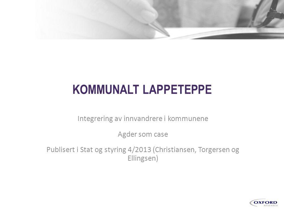 Copyright © 2013 By Oxford Research AS Kristiansand Copenhagen Stockholm Kotka Brüssels Figur 1: Innvandrerbefolkning fra «ikke-vestlige land» i Agderfylkene og hele landet fra 2000-2013.