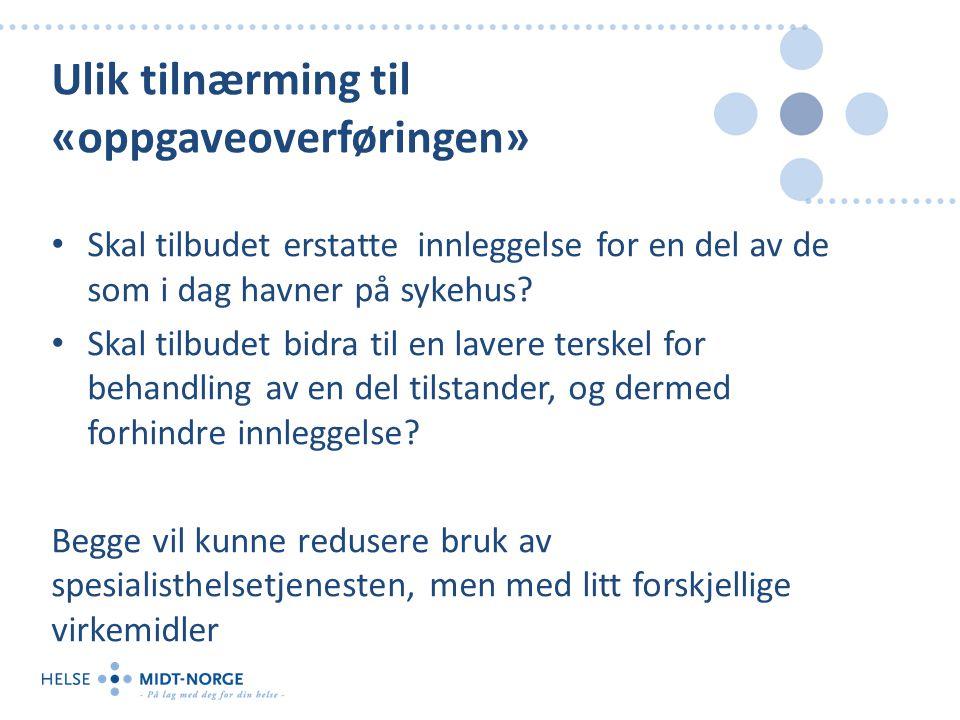 Akutt sykdom hos tidligere friske Innleggelse sykehus Skal tilbudet erstatte innleggelse for en del av de som i dag havner på sykehus?