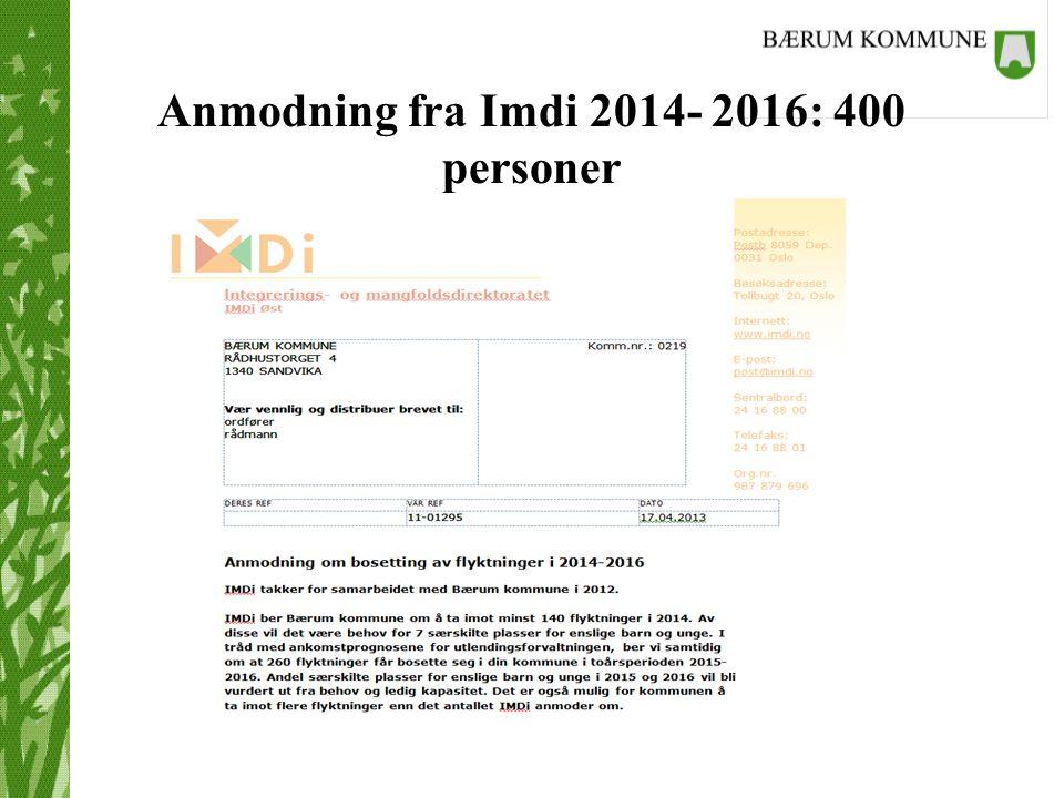 Anmodning fra Imdi 2014- 2016: 400 personer