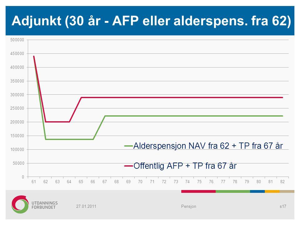 Adjunkt (30 år - AFP eller alderspens. fra 62) Pensjons1727.01.2011