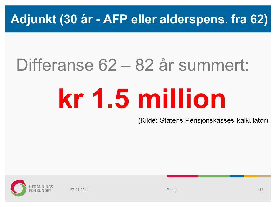 Adjunkt (30 år - AFP eller alderspens. fra 62) Differanse 62 – 82 år summert: kr 1.5 million (Kilde: Statens Pensjonskasses kalkulator) Pensjons1827.0
