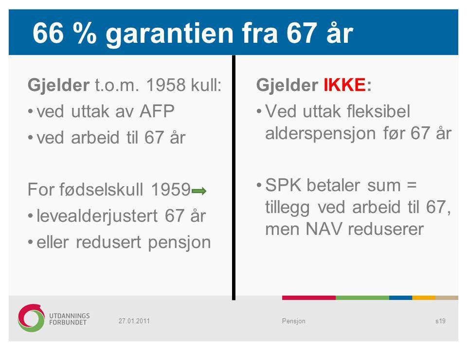 66 % garantien fra 67 år Gjelder t.o.m. 1958 kull: ved uttak av AFP ved arbeid til 67 år For fødselskull 1959 levealderjustert 67 år eller redusert pe