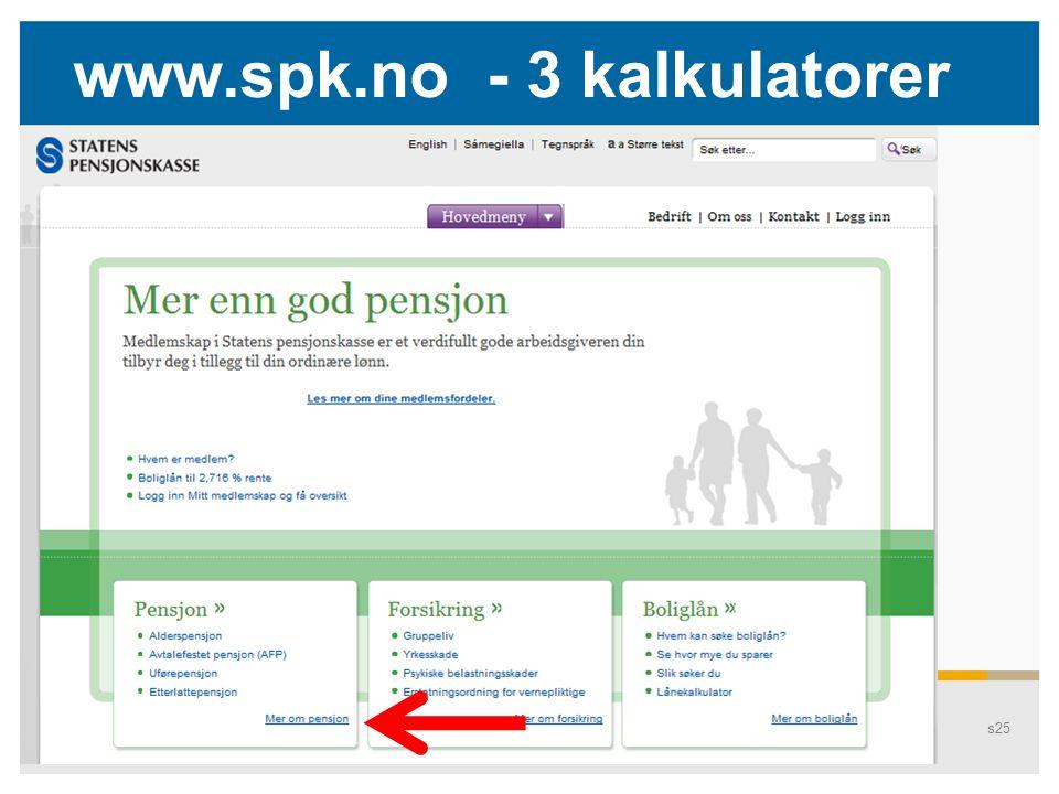 Pensjons25 www.spk.no - 3 kalkulatorer