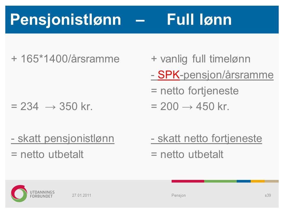 Pensjonistlønn – Full lønn + 165*1400/årsramme = 234 → 350 kr. - skatt pensjonistlønn = netto utbetalt + vanlig full timelønn - SPK-pensjon/årsramme =