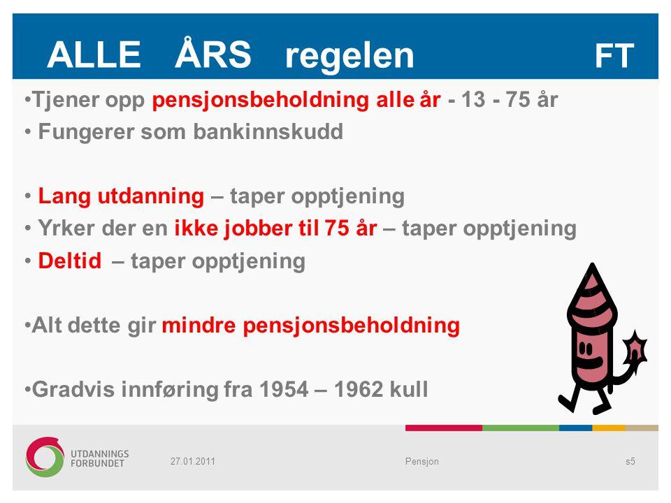 ALLE ÅRS regelen FT Tjener opp pensjonsbeholdning alle år - 13 - 75 år Fungerer som bankinnskudd Lang utdanning – taper opptjening Yrker der en ikke j