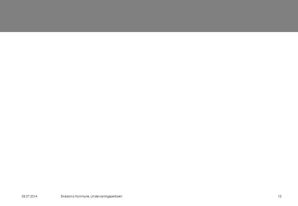 09.07.2014Skedsmo Kommune, Undervisningssektoren13
