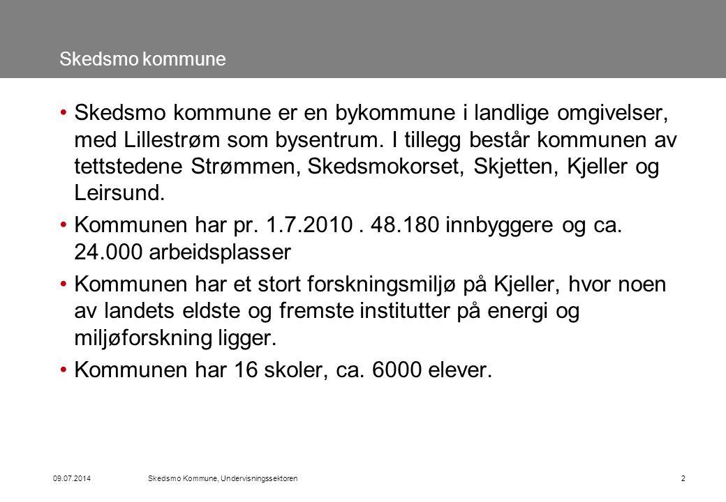09.07.2014Skedsmo Kommune, Undervisningssektoren2 Skedsmo kommune Skedsmo kommune er en bykommune i landlige omgivelser, med Lillestrøm som bysentrum.