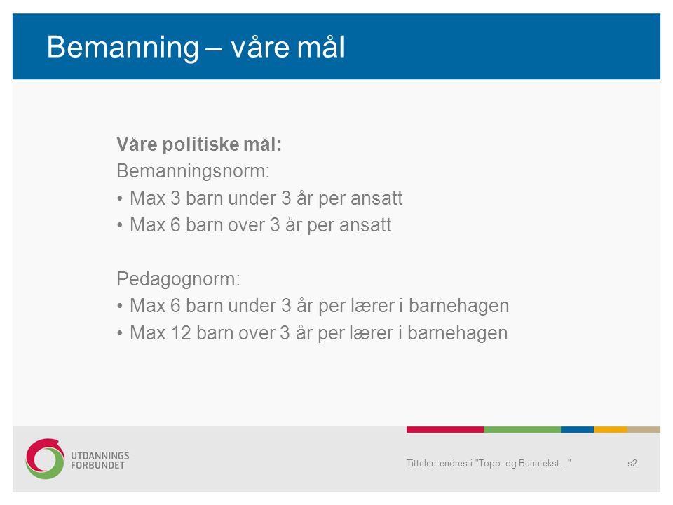Bemanning – våre mål Våre politiske mål: Bemanningsnorm: Max 3 barn under 3 år per ansatt Max 6 barn over 3 år per ansatt Pedagognorm: Max 6 barn unde