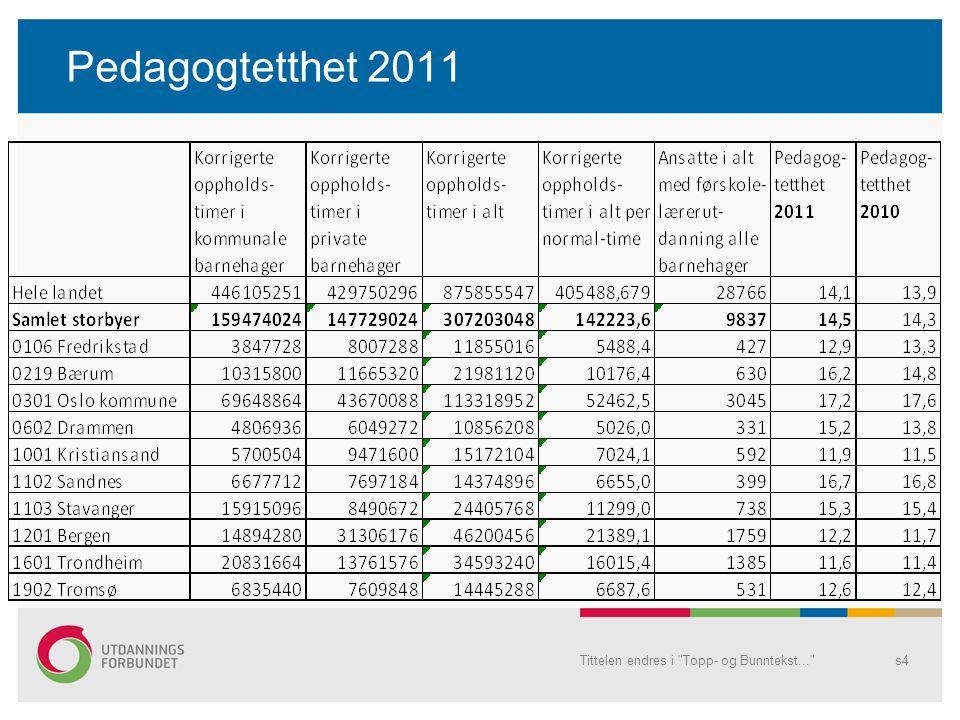 Pedagogtetthet 2011 Tittelen endres i Topp- og Bunntekst... s4