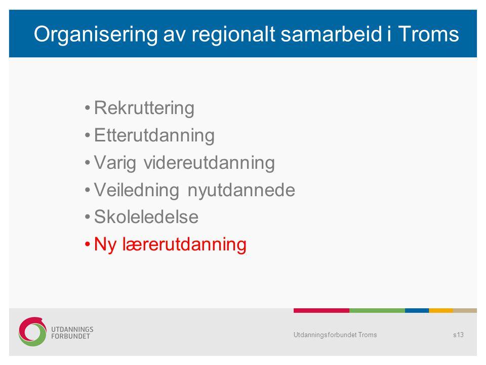 Organisering av regionalt samarbeid i Troms Rekruttering Etterutdanning Varig videreutdanning Veiledning nyutdannede Skoleledelse Ny lærerutdanning Ut