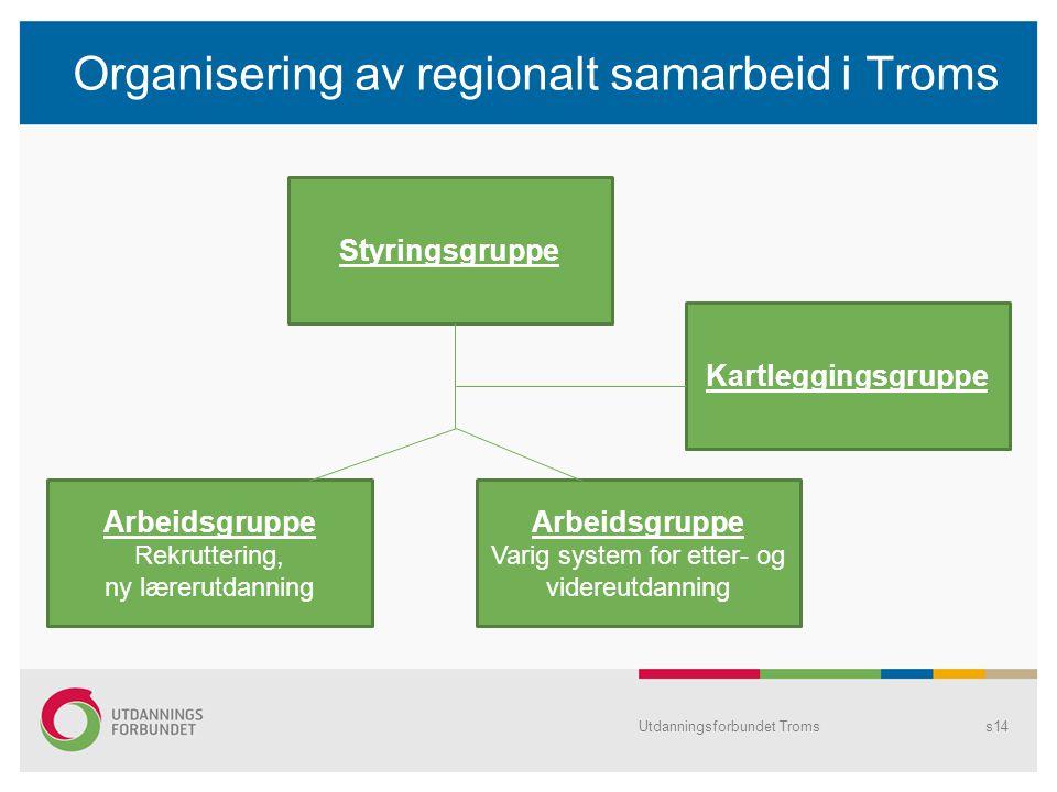 Organisering av regionalt samarbeid i Troms Utdanningsforbundet Tromss14 Styringsgruppe Arbeidsgruppe Rekruttering, ny lærerutdanning Arbeidsgruppe Va