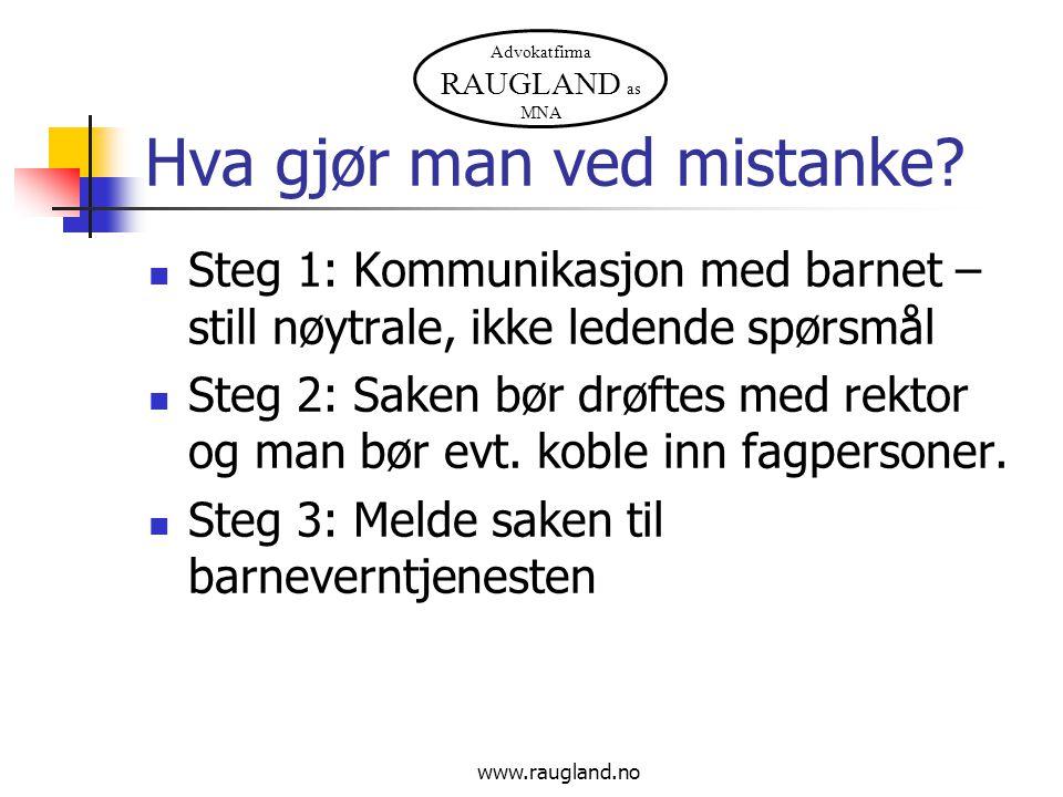 Advokatfirma RAUGLAND as MNA www.raugland.no Hva gjør man ved mistanke? Steg 1: Kommunikasjon med barnet – still nøytrale, ikke ledende spørsmål Steg