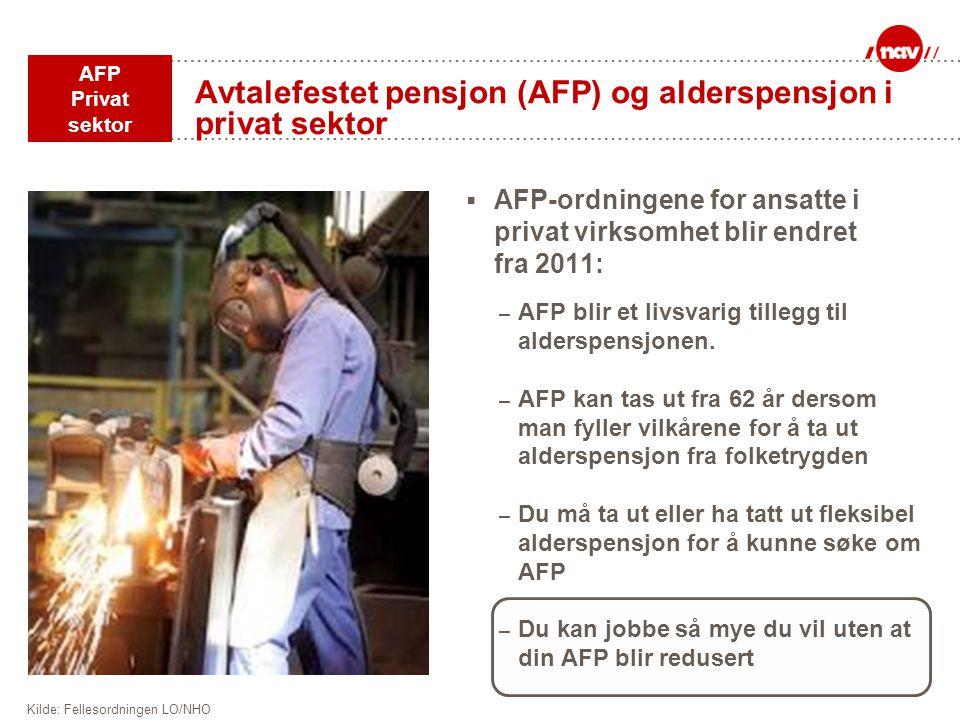 Avtalefestet pensjon (AFP) og alderspensjon i privat sektor  AFP-ordningene for ansatte i privat virksomhet blir endret fra 2011: – AFP blir et livsv