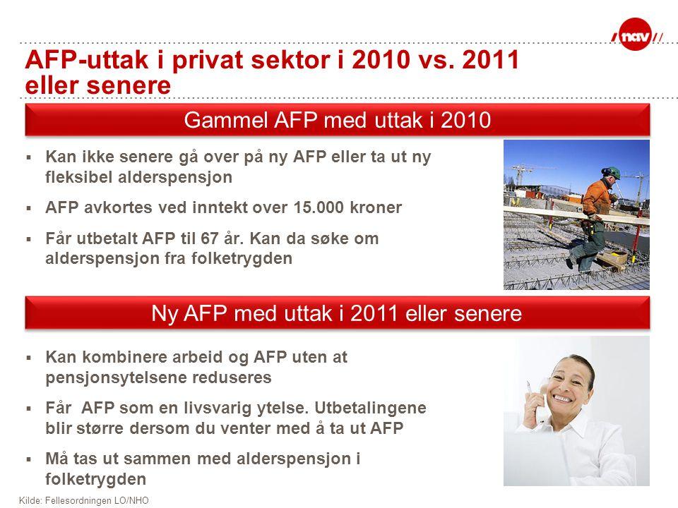 AFP-uttak i privat sektor i 2010 vs. 2011 eller senere  Kan ikke senere gå over på ny AFP eller ta ut ny fleksibel alderspensjon  AFP avkortes ved i