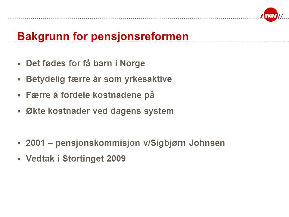 Oppsummering av ny fleksibel alderspensjon  Fleksibelt uttak gjelder for alle personer født i 1943 eller senere  Nye opptjeningsregler gjelder bare for personer født f.o.m.