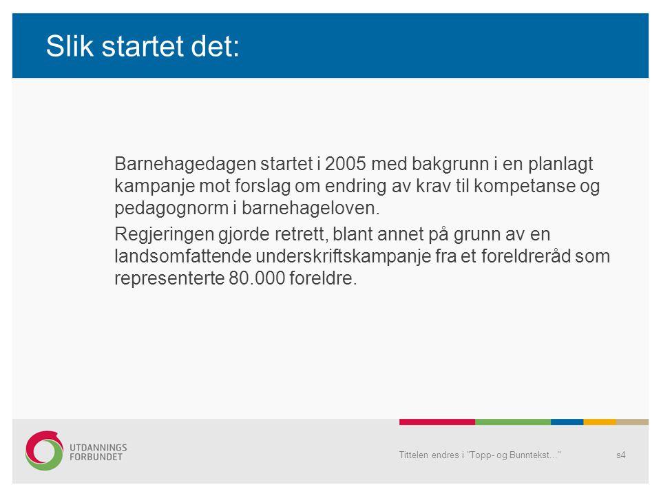 Slik startet det: Barnehagedagen startet i 2005 med bakgrunn i en planlagt kampanje mot forslag om endring av krav til kompetanse og pedagognorm i bar