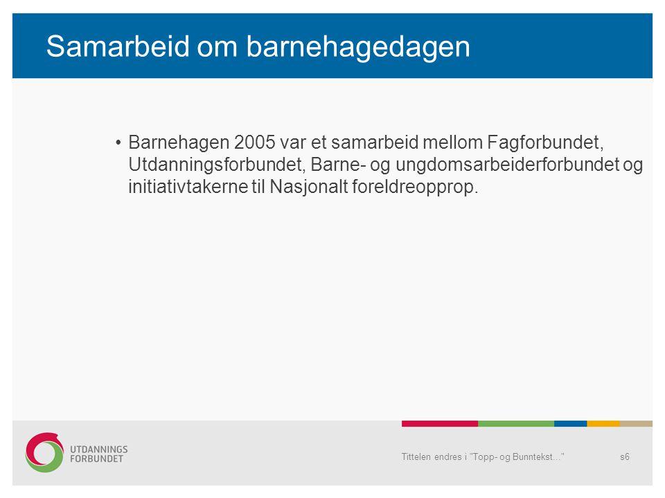 Samarbeid om barnehagedagen Barnehagen 2005 var et samarbeid mellom Fagforbundet, Utdanningsforbundet, Barne- og ungdomsarbeiderforbundet og initiativ