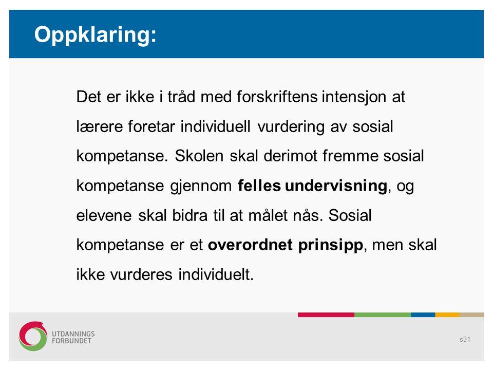 s30 Eks: Misforståelser om vurdering http://www.aftenposten.no/nyheter/iriks/article2196466.ece Denne timen og én senere på dagen skal de jobbe som om de kom opp til muntlig eksamen i KRL: To og to sammen.