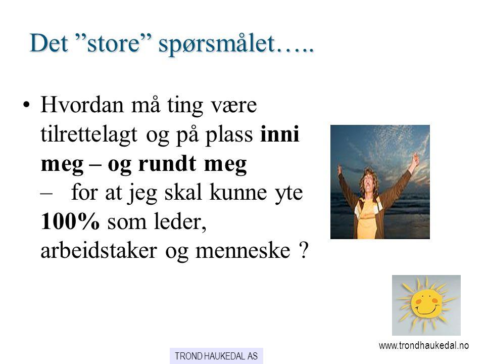 Mennesket – og endring… www.trondhaukedal.no 95 % av vår atferd har sin kilde i vaner….