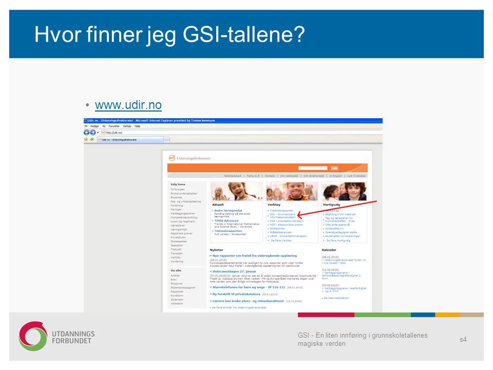 GSI - En liten innføring i grunnskoletallenes magiske verden s4 Hvor finner jeg GSI-tallene? www.udir.no