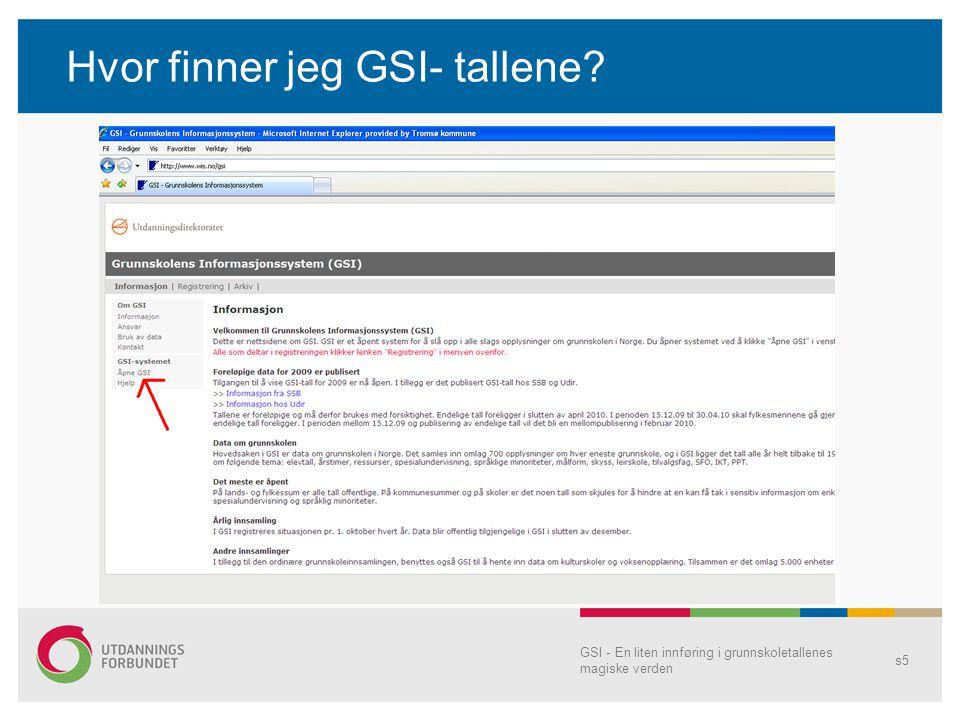 GSI - En liten innføring i grunnskoletallenes magiske verden s6 Hva finnes i databasen?