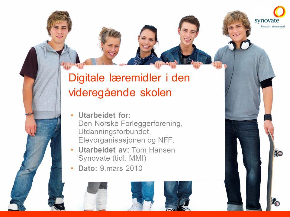 Digitale læremidler i den videregående skolen Utarbeidet for: Den Norske Forleggerforening, Utdanningsforbundet, Elevorganisasjonen og NFF. Utarbeidet