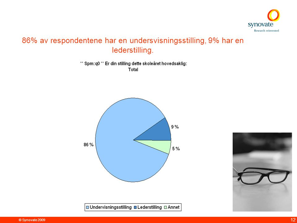 © Synovate 2009 12 86% av respondentene har en undersvisningsstilling, 9% har en lederstilling.